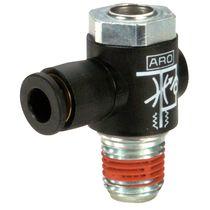 Клапан с пневматическим управлением / для контроля расхода / для воздуха / с прямым углом