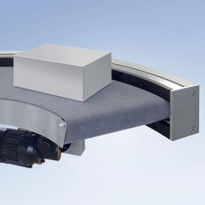 ленточный конвейер / для ящиков / горизонтальный / изогнутый