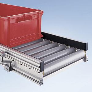 роликовый конвейер / для поддонов / для ящиков / изогнутый