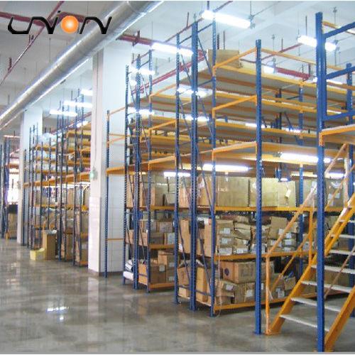 промышленный этажный стеллаж на полках с поддонами