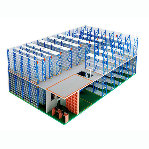 промышленный этажный стеллаж с системой укладки
