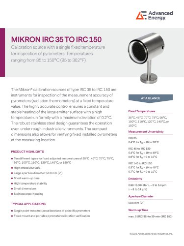 Blackbody Calibration Sources IRC 35 to 150