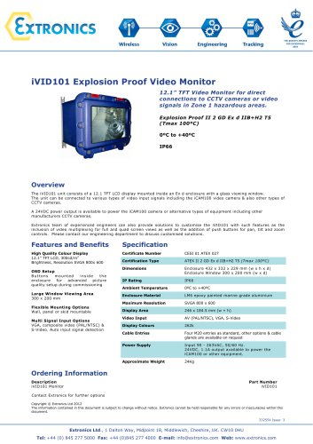 Explosion Proof Monitor iVID101 Explosion Proof Monitor