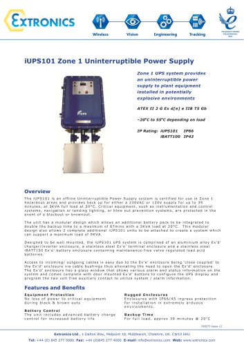 Uninterruptible Power Supply for ATEX Zone 1 Areas iUPS101