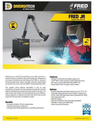 FRED JR Portable Fume Extractor Brochure