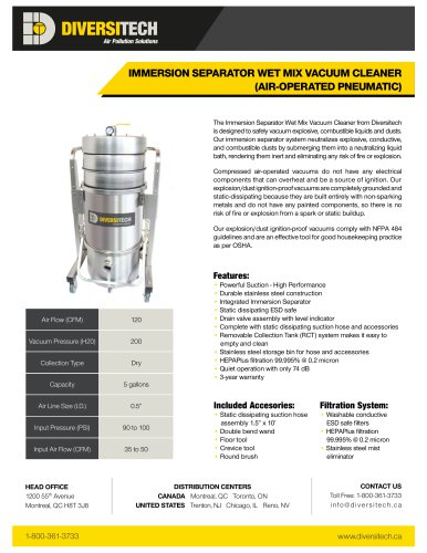 IMMERSION SEPARATOR WET MIX VACUUM CLEANER (AIR-OPERATED PNEUMATIC)