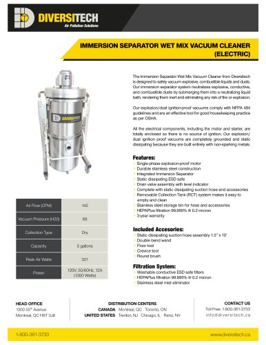 IMMERSION SEPARATOR WET MIX VACUUM CLEANER (ELECTRIC)