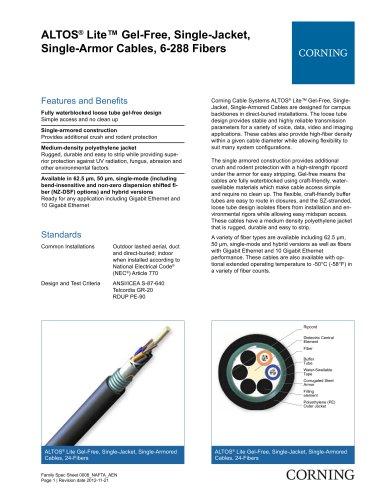 ALTOS® Lite? Gel-Free, Single-Jacket, Single-Armor Cables, 6-288 Fibers