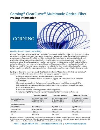 ClearCurve multimode fiber product information sheet