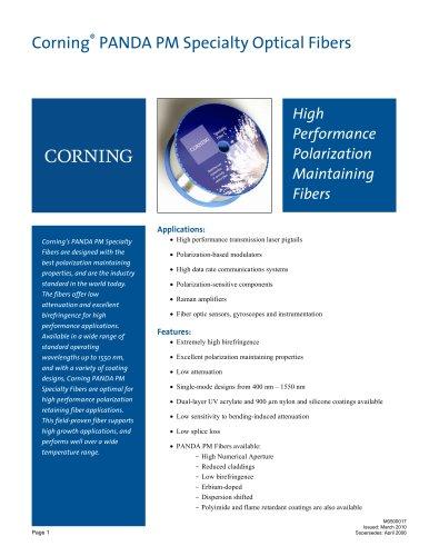 Corning PANDA PM and RC PANDA Specialty Fiber Product Information Sheet