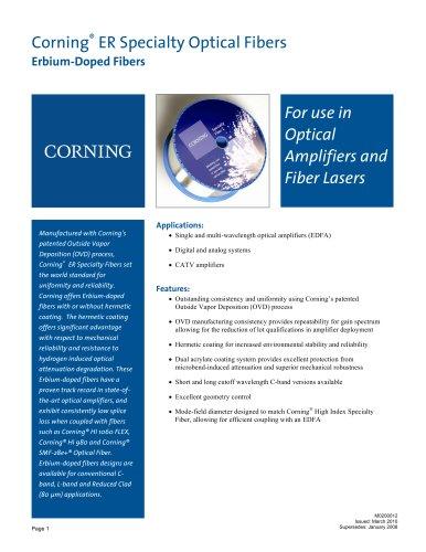 Erbium-Doped Specialty Fiber Product Information Sheet