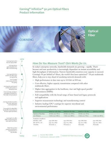 InfiniCor 50 µm optical fiber product information sheet