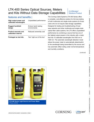 LTK-400 Series Optical Sources, Meters, and Kits Without Data Storage Capabilities