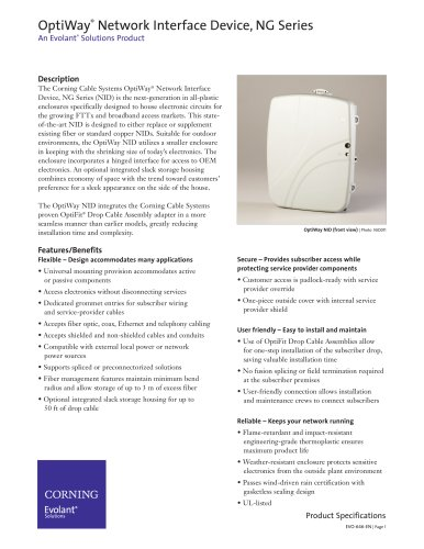 OptiWay® Network Interface Device, NG Series