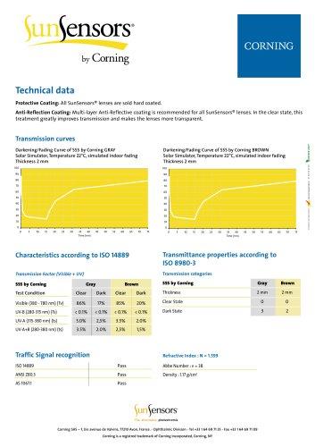 SunSensors by Corning Technical Data Sheet