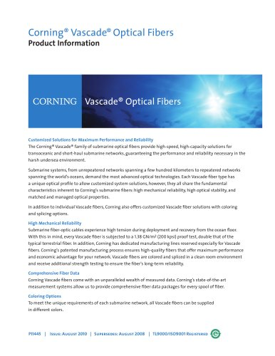 Vascade® optical fibers