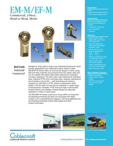 EM-M/EF-M 2-piece Metal to Metal Metric Rod Ends