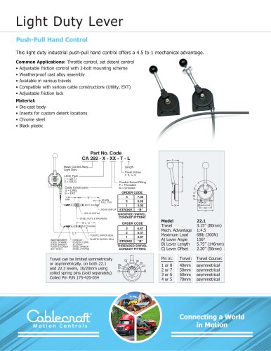 Light Duty Lever Push-Pull Hand Control
