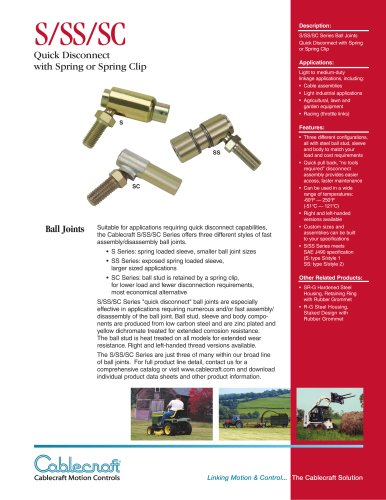 S/SS/SC  Quick Disconnect Ball Joints