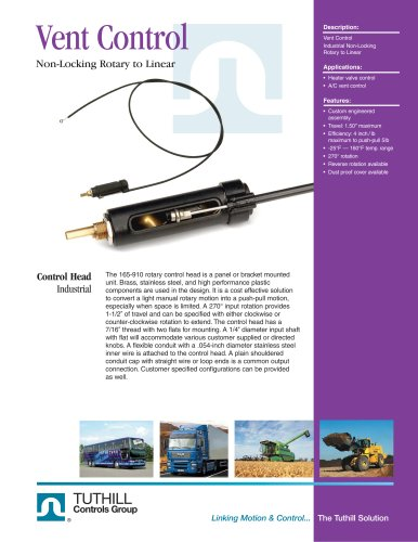 Vent Control Non-Locking Rotary to Linear Control Head