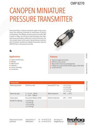 CANOPEN MINIATURE PRESSURE TRANSMITTER CMP 8270