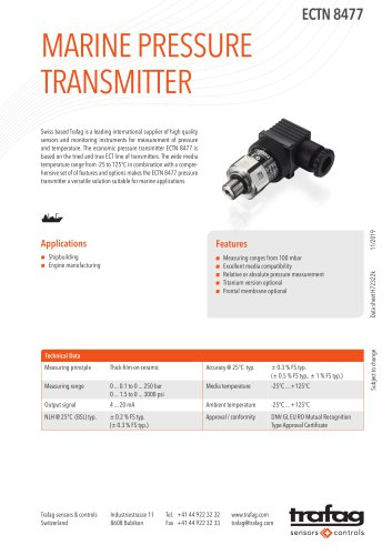 MARINE PRESSURE TRANSMITTER ECTN 8477