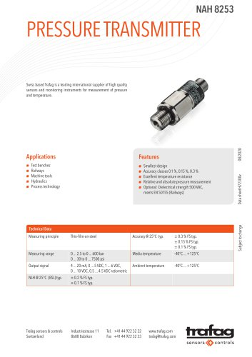 PRESSURE TRANSMITTER NAH 8253