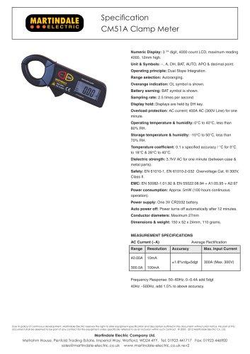 Clamp Meter:Martindale CM51A 300A AC Mini