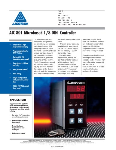 AIC 801 Micro-Based 1/8 DIN Controller