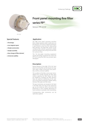Front panel mounting fine filter series FP® - Version FPF-0,1GF