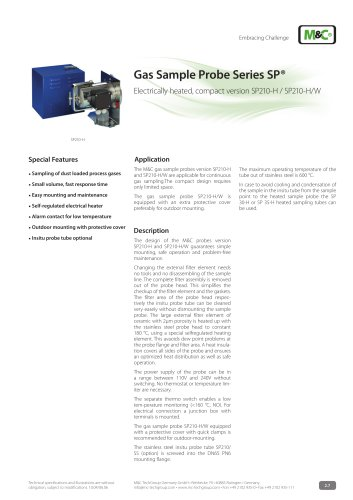Gas Sample Probe Series SP® - Version SP210-H, SP210-H/W