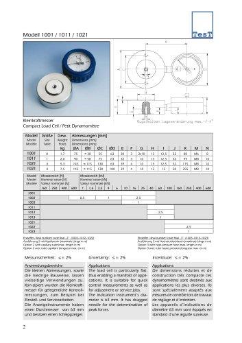 Hydraulic Force Transducers - Model 1001/1011/1021