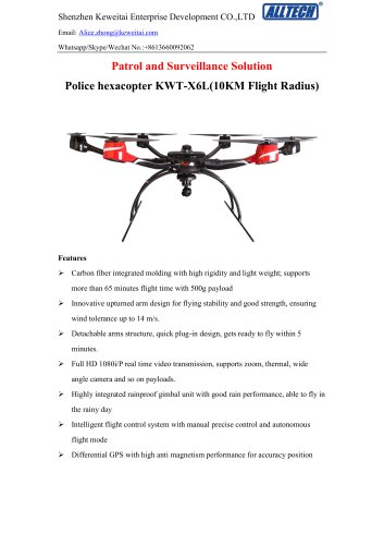 Police Drone KWT-X6L Surveillance Solution