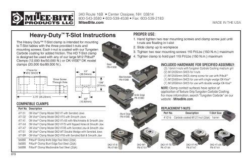 Heavy-Duty™ T-Slot Instructions