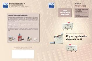 MP500 SUBMINIATURE MICROSWITCH, PCB, SOLDER TERMINALS, OVERMOULDED PVC CABLE