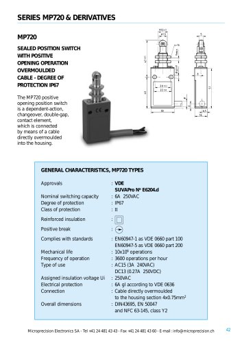 MP720 High Temperature Sealed Position Switches