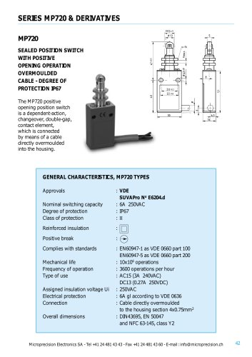 POSITION SWITCHES WITH POSITIVE OPENING OPERATION OVERMOULED CABLES