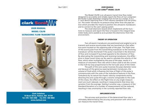 Clark Sonic Series CSLFB Brass Ultrasonic Liquid Flow Transmitter Manual