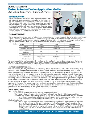 Motor Actuated Valve Application Guide