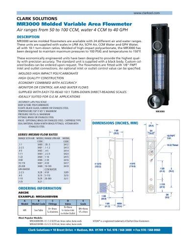 MR3000 Molded Variable Area Flowmeter
