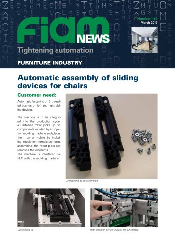 Automatic assembly of sliding devices for chairs