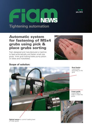 Automatic system for fastening of M5x4 grubs using pick and place
