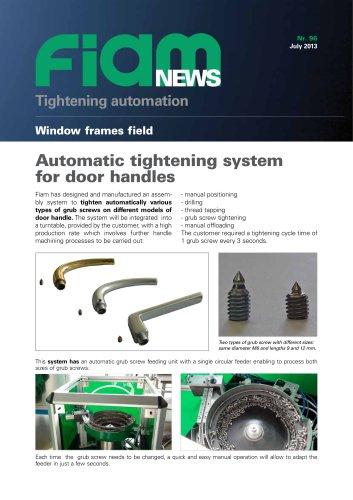 Automatic tightening system of grub fo door handles