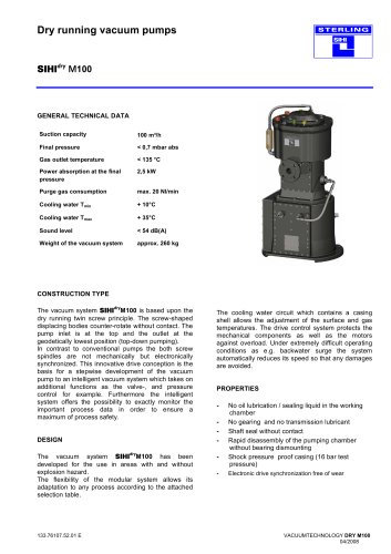 Dry running vacuum pumps SIHIdry M100
