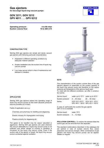 Gas ejectors for two-stage liquid ring vacuum pumps GOV 3211, GOV 3212 GPV 4011 . . . GPV 6312
