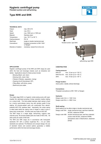 Hygienic centrifugal pump Flooded suction and self-priming Type NHK and SHK