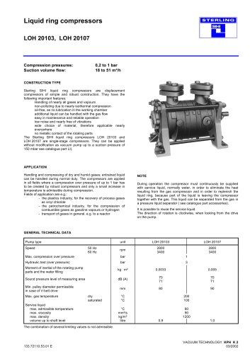 Liquid ring compressors LOH 20103, LOH 20107
