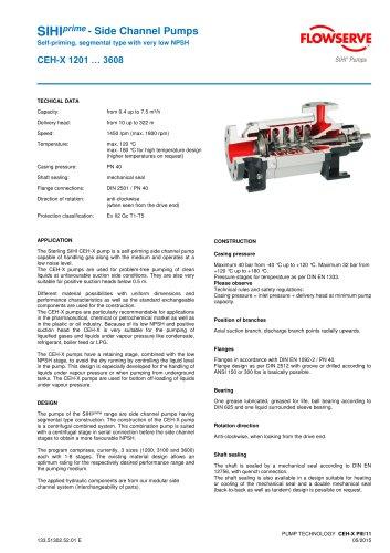 Series CEH-X, 7.5 m³/h, 322 m, 180 °C