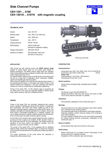 Side Channel Pumps CEH 1201 ... 6108 CEH 1201/6 ... 6107/6 with magnetic coupling