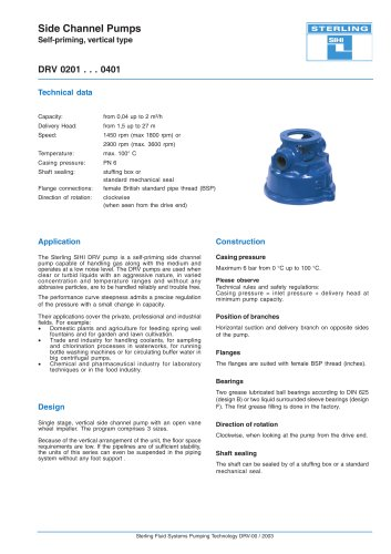 Side Channel Pumps Self-priming, vertical type DRV 0201 . . . 0401